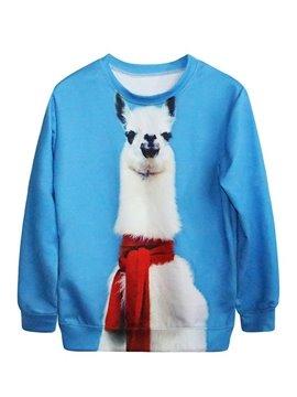 Cute Long Sleeve Alpaca Pattern Blue 3D Painted Hoodie