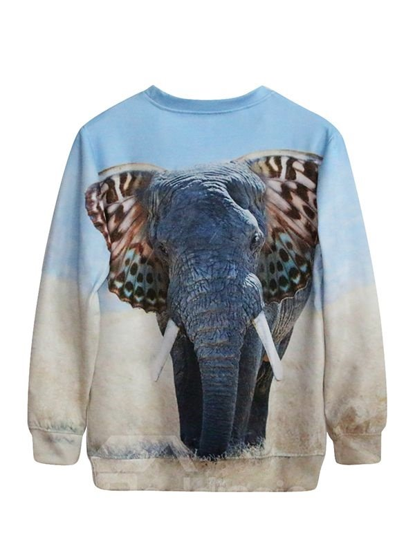 Long Sleeve Elephant with Unique Ears Pattern 3D Painted Hoodie