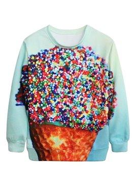 Wonderful Long Sleeve Colorful Ice Cream Pattern 3D Painted Hoodie
