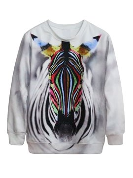 Cool Long Sleeve Zebra Pattern 3D Painted Hoodie