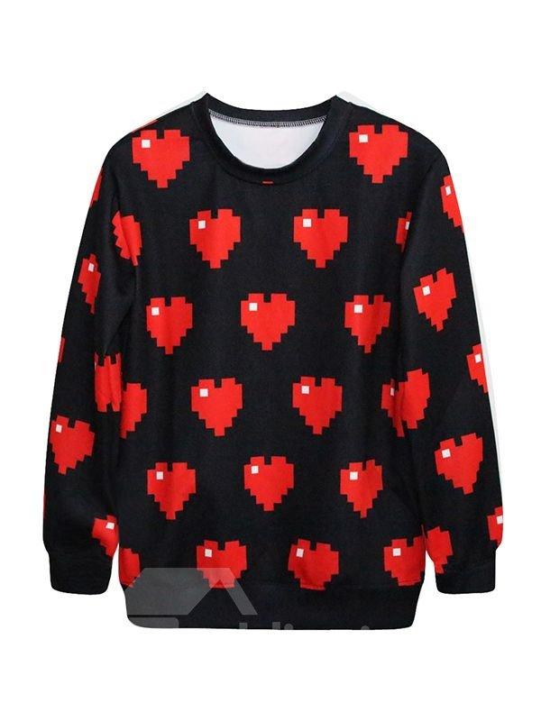 Super Long Sleeve Sweetheart Pattern Black 3D Painted Hoodie
