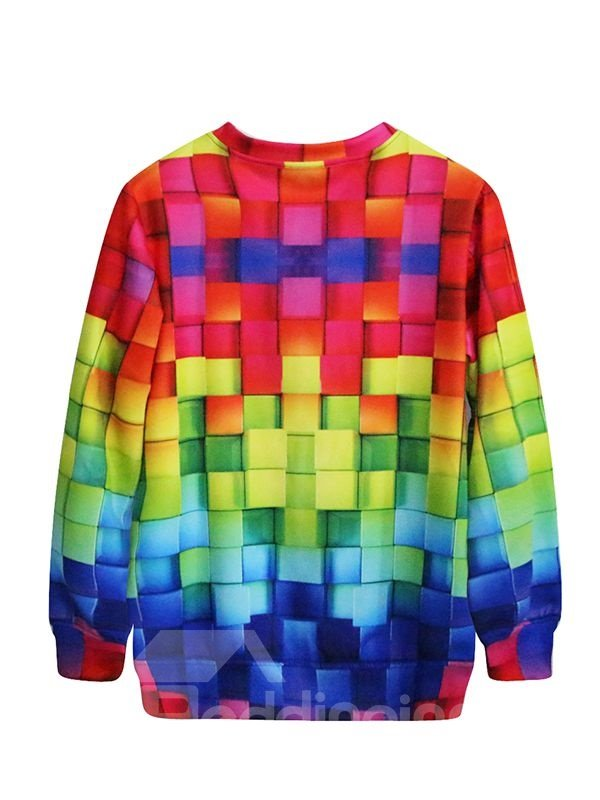 Stunning Long Sleeve Multicolor Plaid Pattern 3D Painted Hoodie