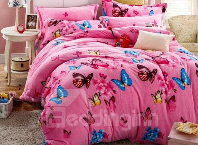 Attractive Colorful Butterfly Print 4-Piece Flannel Duvet Cover Sets