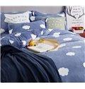 Excellent White Cloud Print 4-Piece Flannel Duvet Cover Sets