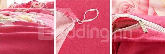A Bunch of Pink Rose Print 4-Piece Cotton Duvet Cover Sets