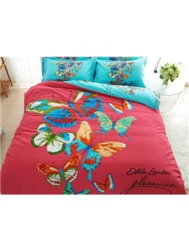 Unique Colorful Butterfly Print 100% Cotton 4-Piece Duvet Cover Sets