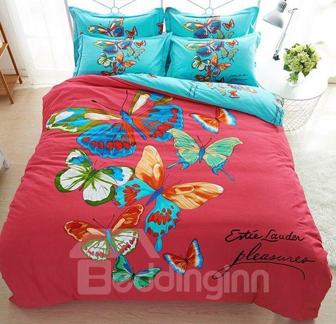 Unique Colorful Butterfly Print 100% Cotton 4-Piece Duvet Cover Sets