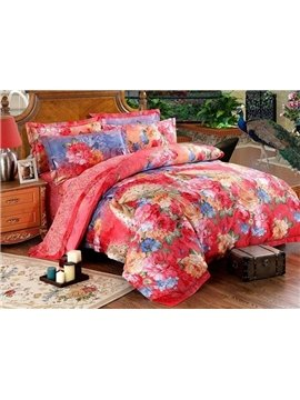 Stunning Peacock and Flower Print 4-Piece Cotton Duvet Cover Sets