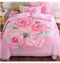 3D Pink Roses Printed Cotton Full Size 4-Piece Bedding Sets/Duvet Covers