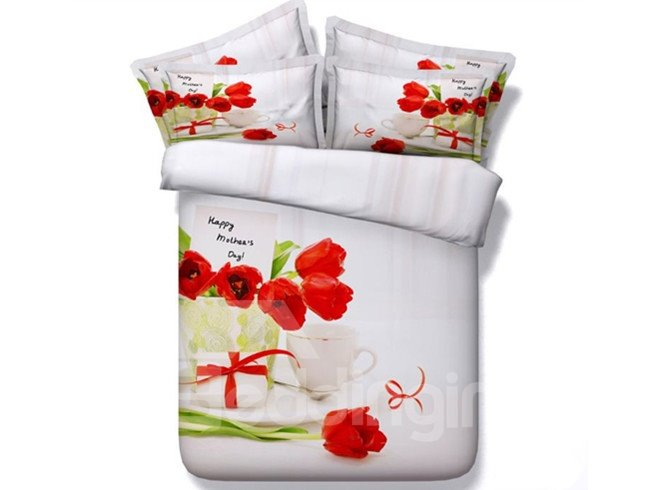 Beautiful Red Tulip 3D Printed 4-Piece Duvet Cover Sets