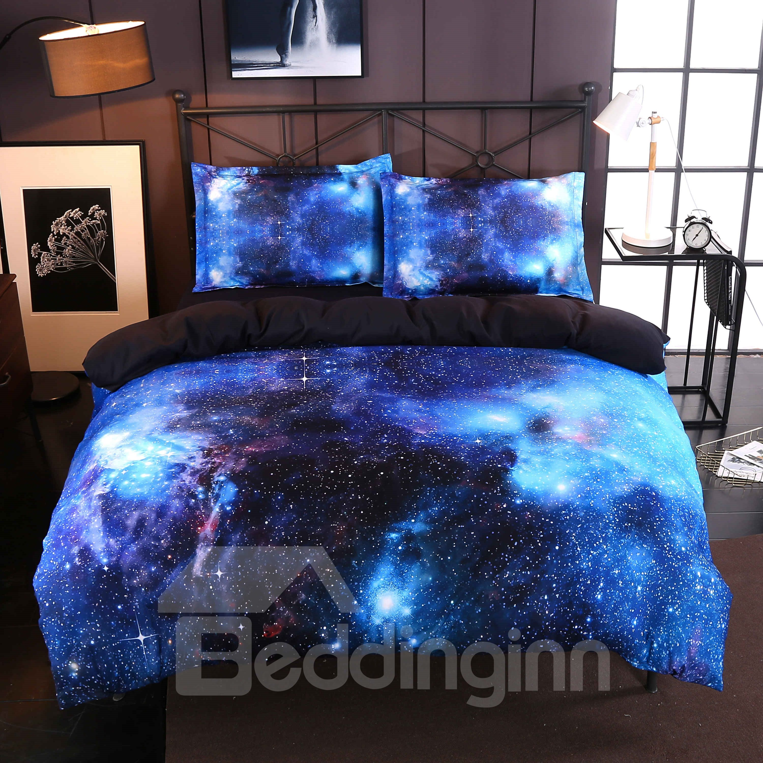 3d Blue Galaxy Realistic Style Printed 4 Piece Bedding