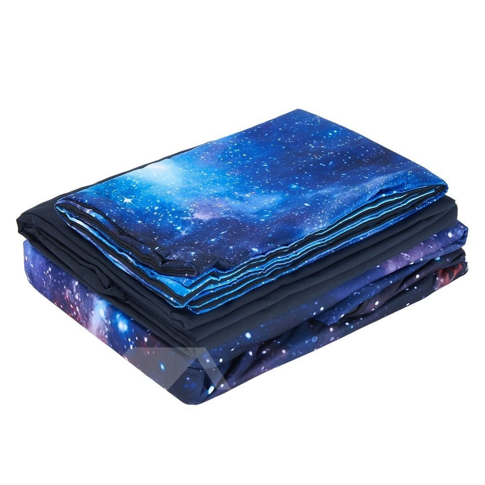3D Blue Galaxy Realistic Style Printed 4-Piece Bedding Sets/Duvet Covers