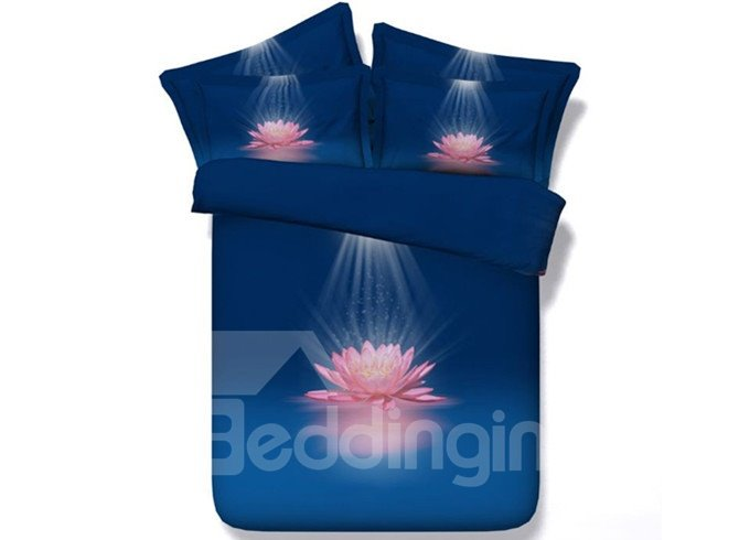 3D Blooming Pink Lotus Printed Cotton 4-Piece Blue Bedding Sets/Duvet Covers