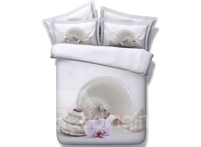 Simple Design Phalaenopsis and Viviparidae Print 4-Piece Duvet Cover Sets