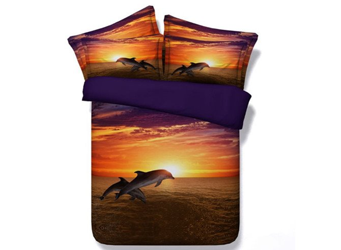 Fancy Dolphin 3D Digital Printing 4-Piece Duvet Cover Sets