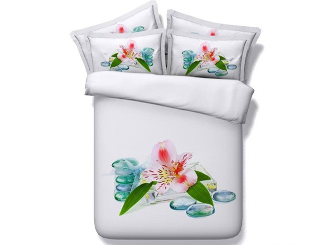 Exquisite 3D Lily Digital Printing 4-Piece Duvet Cover Sets