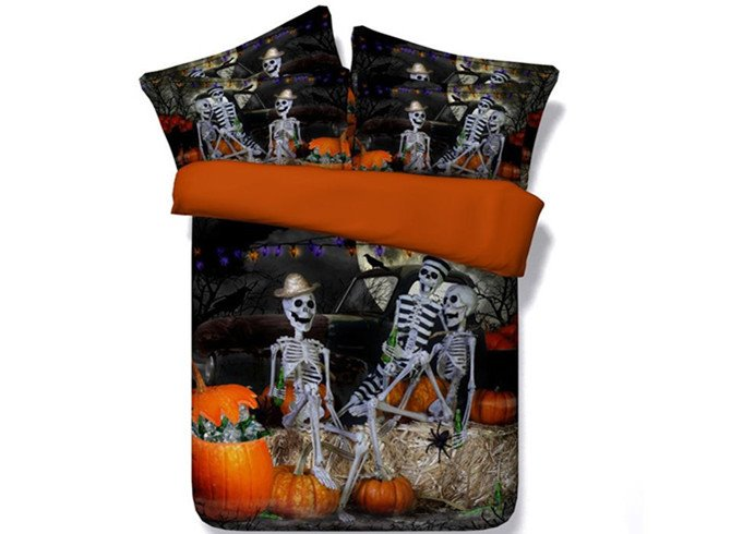 3D Halloween Skeletons Party Printed Cotton 4-Piece Bedding Sets/Duvet Covers