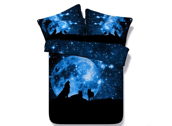 3D Wolf and Galaxy Printed Blue 4-Piece Bedding Sets/Duvet Covers