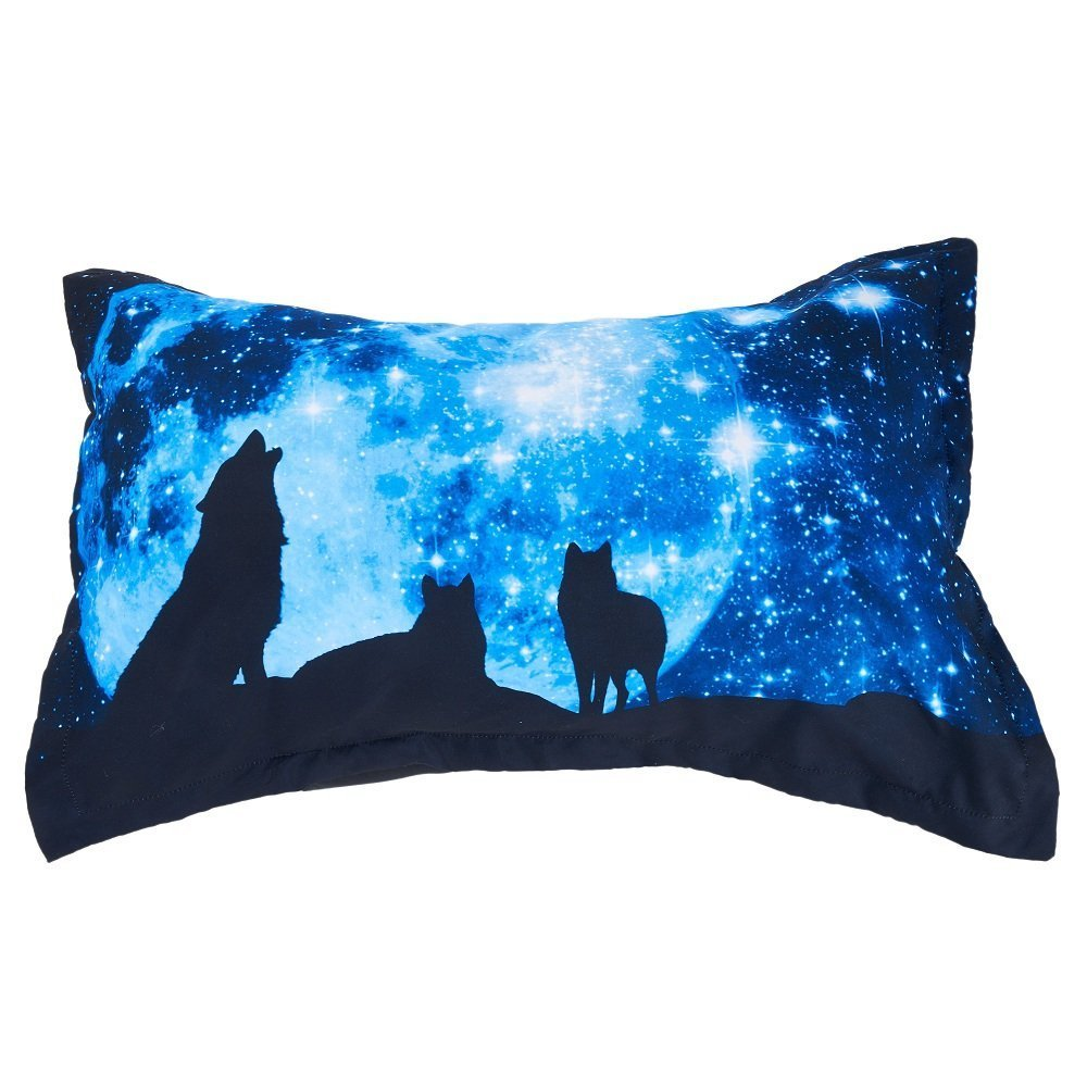 3D Wolf and Galaxy Printed Cotton 4-Piece Blue Bedding Sets/Duvet Covers