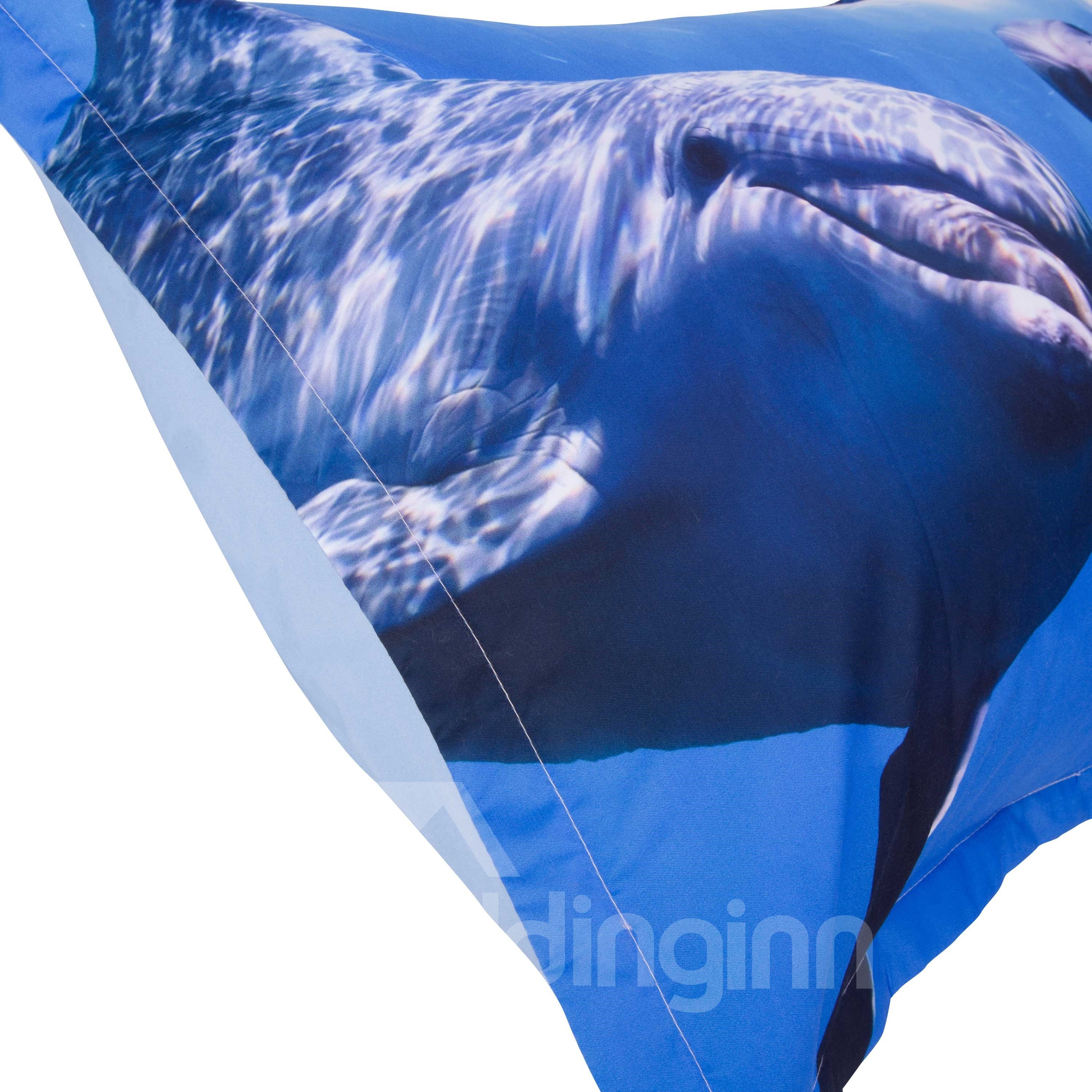 3D Dolphin under the Sea Printed 4-Piece Blue Bedding Sets/Duvet Covers