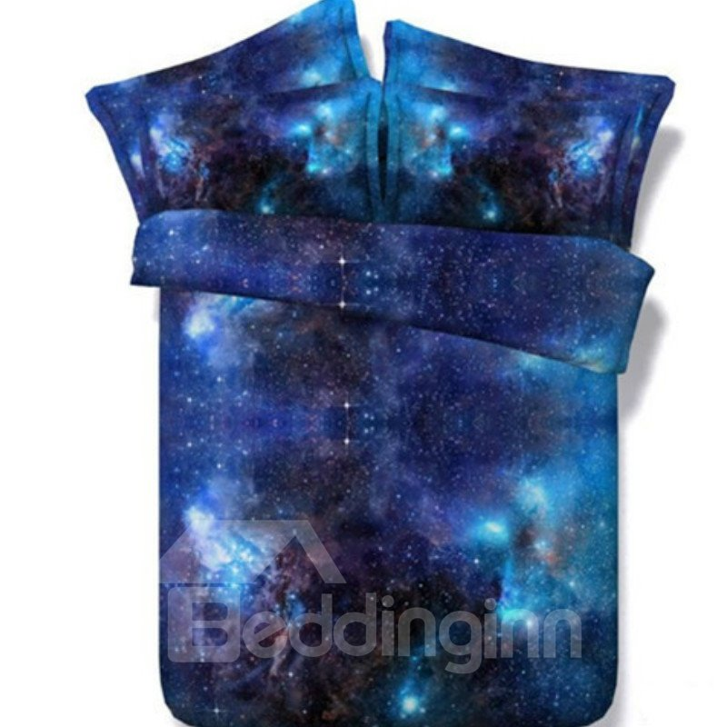 3d Shining Galaxy Digital Printing Blue 5 Piece Comforter Sets Pic