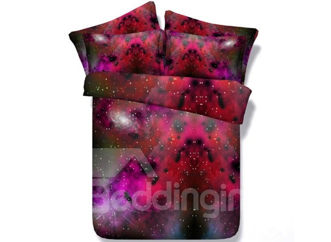 Splendid Red Galaxy Print 5-Piece Comforter Sets