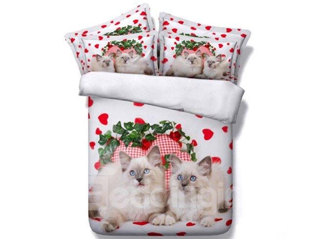 Lovely 3D Kitten Printed 5-Piece Comforter Sets