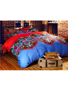 Characteristic Damask Print Staple Cotton 4-Piece Duvet Cover Sets