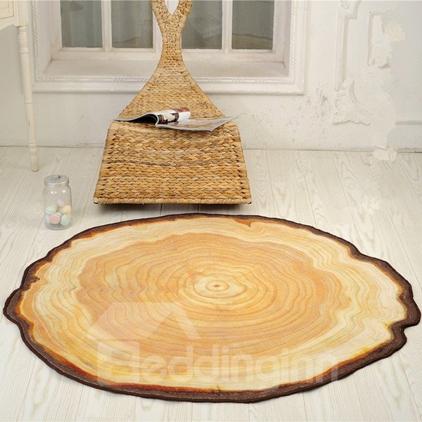 50 Modern Country Style Round Tree Annual Ring Shape Area Rug