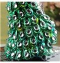 Elegant European Style Resin Green Electroplated Peacock Desktop Decoration