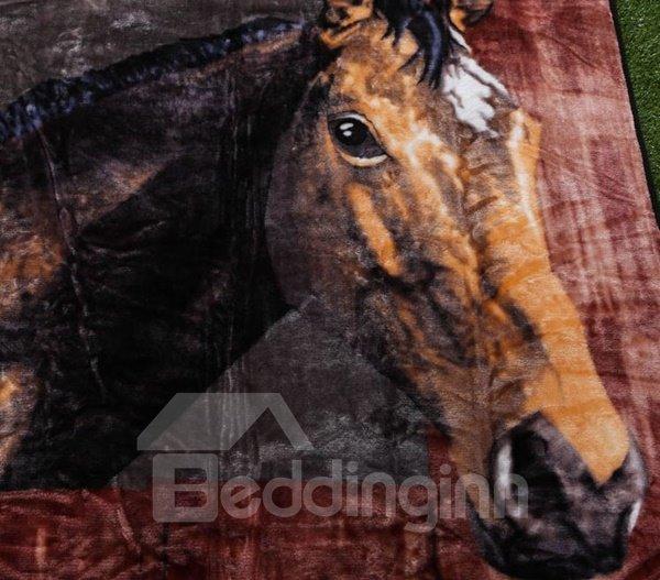 Impressing Brown Horse Print Soft Raschel Blanket