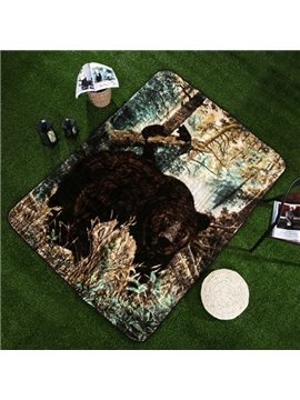Popular Strong Black Bear Print Raschel Blanket