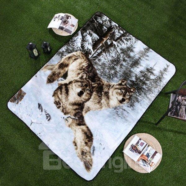 Vivid Wolf in the Snow Print Raschel Blanket