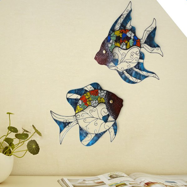 Creative Iron Lovely Fishes Shape Home Decorative 3D Wall Stickers