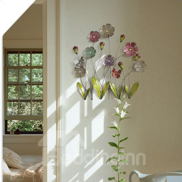 Decorative Iron Country Style Flowers Shape 3D Wall Stickers