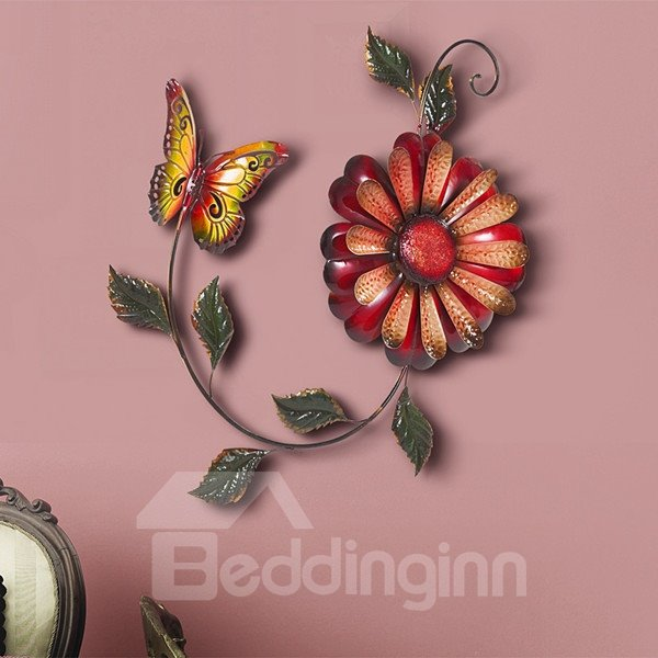 Charming Handmade Iron Flower and Butterfly Shape 3D Wall Stickers