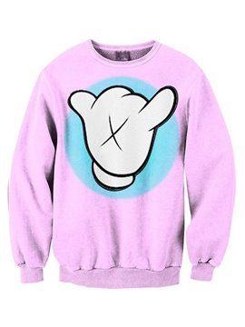 Long Sleeve Cartoon Gesture Pink 3D Painted Hoodie