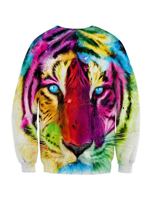 Multicolor Long Sleeve Tiger Face Pattern 3D Painted Hoodie