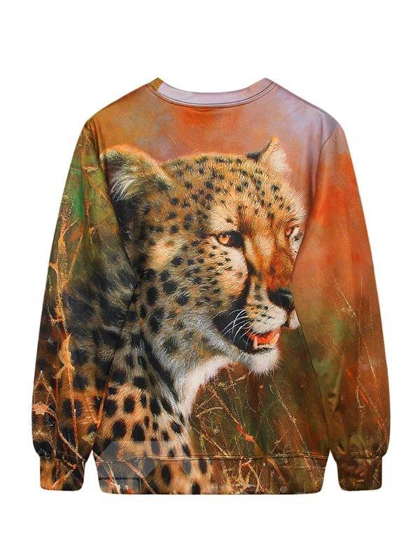 Cool Long Sleeve Leopard Pattern 3D Painted Hoodie