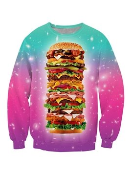 Multicolor Long Sleeve Big Hamburger Pattern 3D Painted Hoodie