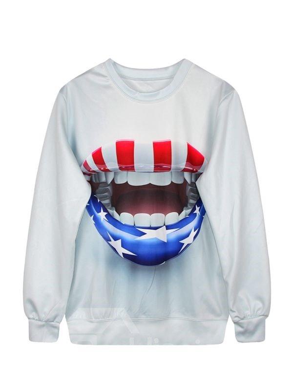 Long Sleeve American Flag Lips Pattern 3D Painted Hoodie