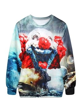 Unique Long Sleeve Clown Cloud Pattern 3D Painted Hoodie