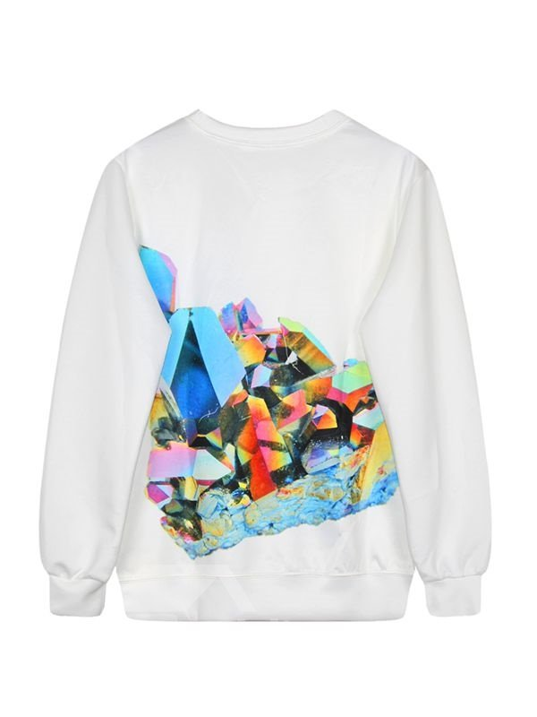 Long Sleeve Unique Pattern White 3D Painted Hoodie
