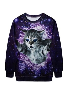 Bright Long Sleeve Running Cat Pattern 3D Painted Hoodie
