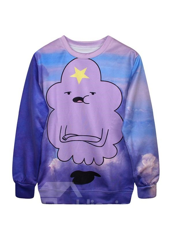 Lovely Long Sleeve Cartoon Pattern 3D Painted Hoodie