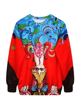 Wonderful Long Sleeve Creative Pattern Red 3D Painted Hoodie