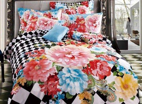 Fabulous Noble Peony Print 4-Piece Cotton Duvet Cover Sets