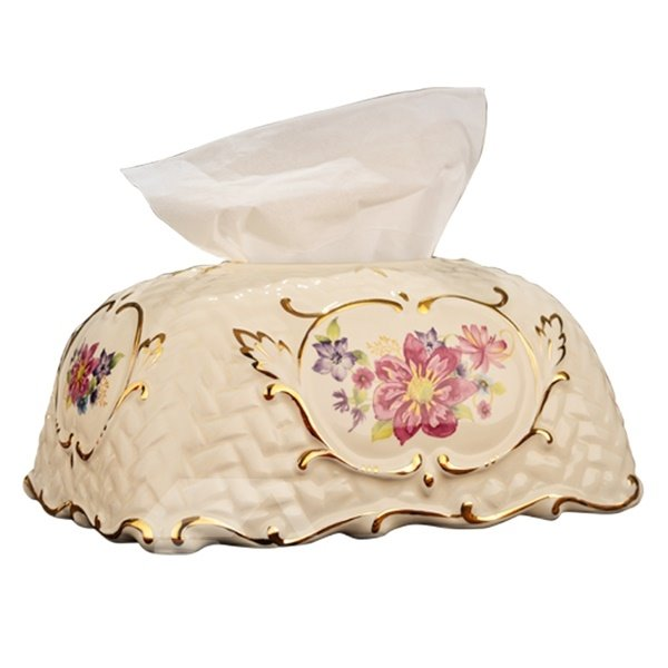 Decorative Ceramic Flower Pattern Tissue Box Painted Pottery