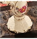 Luxury White Ceramic Flower Pattern Candle Holder Painted Pottery