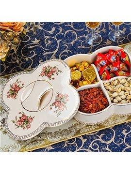 Creative White Ceramic Four Lattice Snack Box Painted Pottery